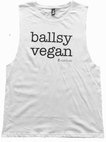 BALLSY VEGAN - Unisex Muscle Tank (Black, White)