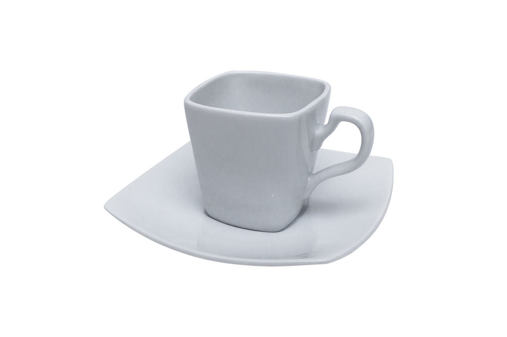Set of 6 Contemporary Coffee Cups and Saucers