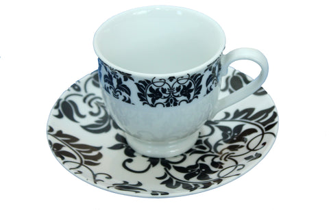 Set of 6 Piece Floral Black & White Tea Cups and Saucers