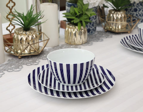 The Plate Co. Striped Dinner Set in Blue
