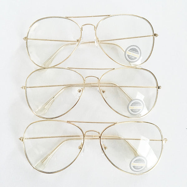 Wholesale Clear Aviator Glasses in Gold