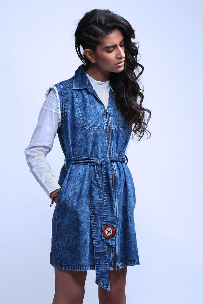 Feathering Solo Denim Dress-Shop-good stuff