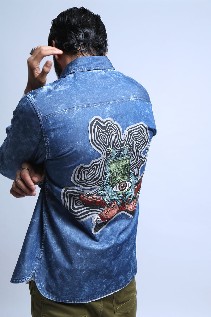 Space Waves Denim Shirt-Shop-good stuff