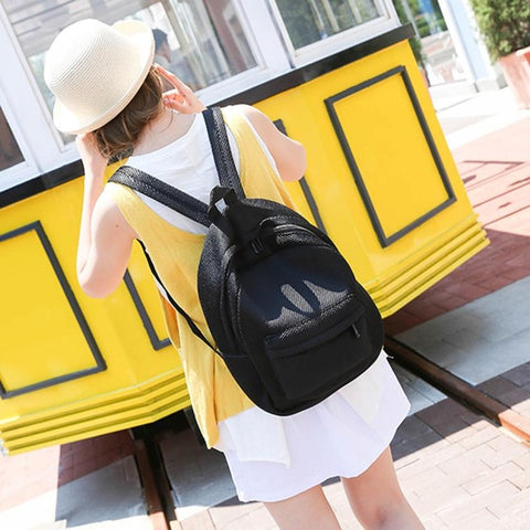 Backpack Women Bag Fashion Hollow Mesh School Bags
