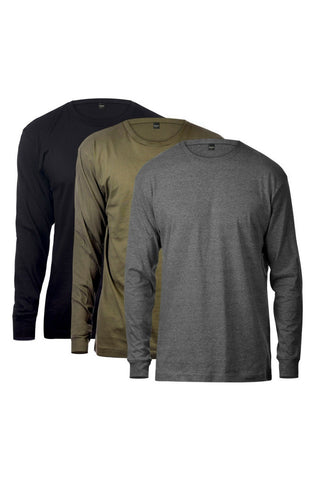 Basic Long Sleeve Tee 3 Pack (Black & Charcoal &