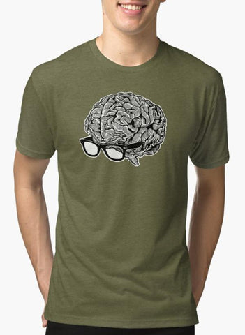 Brain with Glasses Green T-shirt