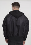 Hooded Oversized Bomber Jacket - All Black