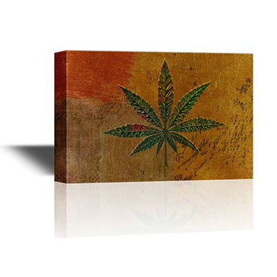 Canvas wall art - marijuana leaf