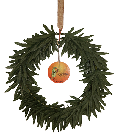 Wreath with Morning Dude Hang Tag