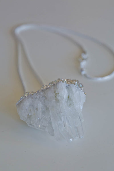 Thea Crystal Quartz  Raw Pendant - Silver Fox Foundry