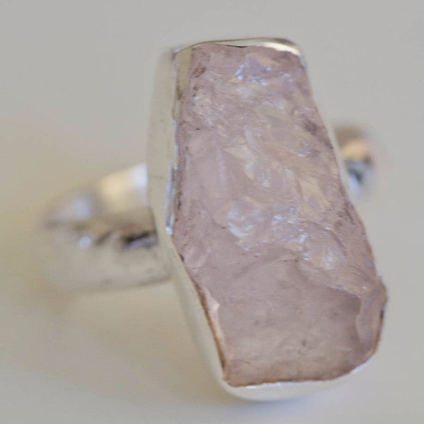 Gilda Raw Rose Quartz - Silver Fox Foundry