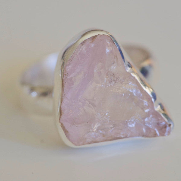 Iva Raw Rose Quartz Ring - Silver Fox Foundry