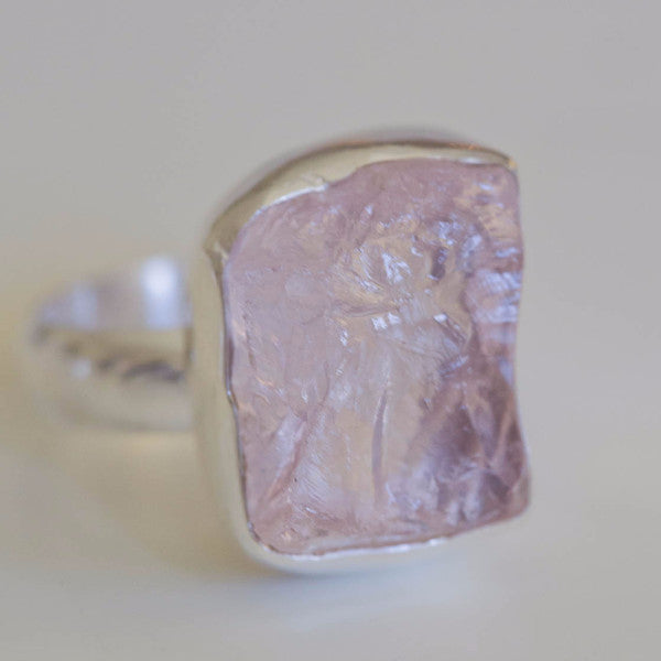 Hadley Raw Rose Quartz Ring - Silver Fox Foundry