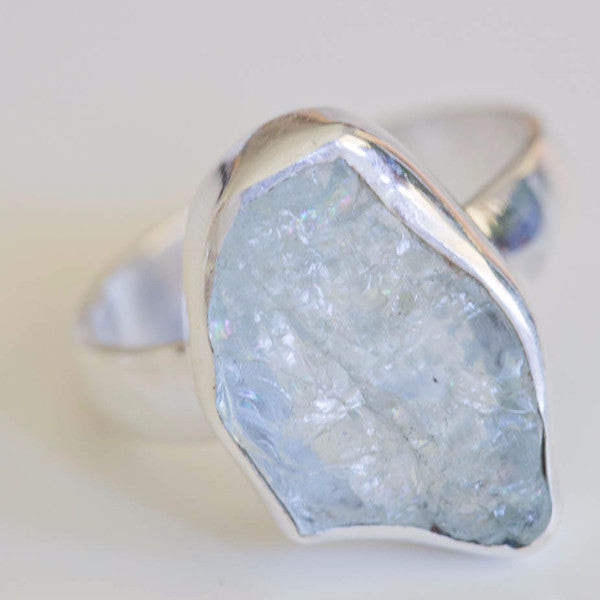 Elyta Aquamarine Raw Stone Ring - Silver Fox Foundry