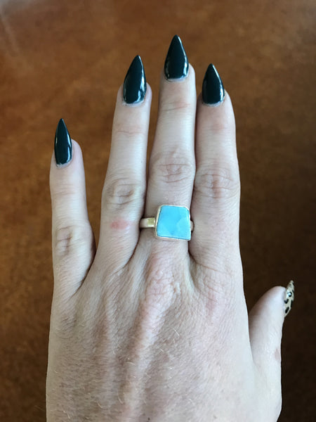 Alcyone Raw Larimar Ring - Silver Fox Foundry