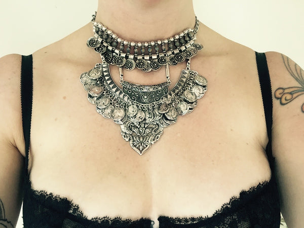 Farrah triple Collar Choker - Silver Fox Foundry