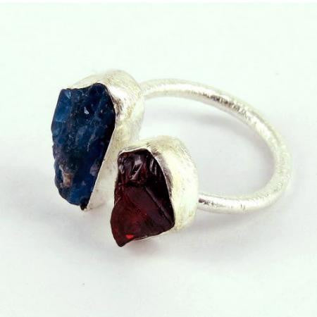 Rita Raw Apatite Garnet Adjustable Ring - Silver Fox Foundry