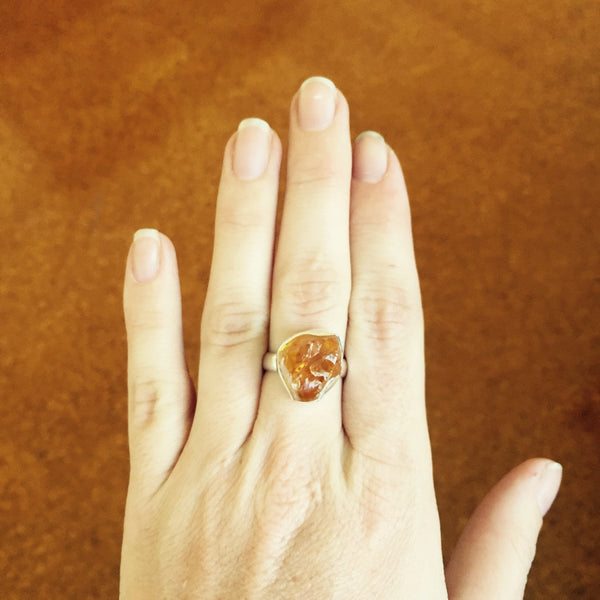 Orsola Raw Citrine Ring - Silver Fox Foundry