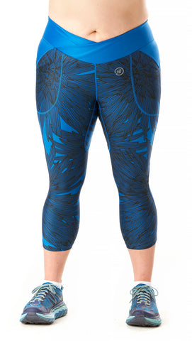 Trifecta Multisport 3 Pkt Capri in Royal Palm Print - Rsport