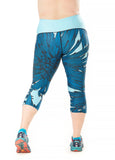 Trifecta Multisport 3 Pkt Capri in Faded Aqua Palm Print - Rsport