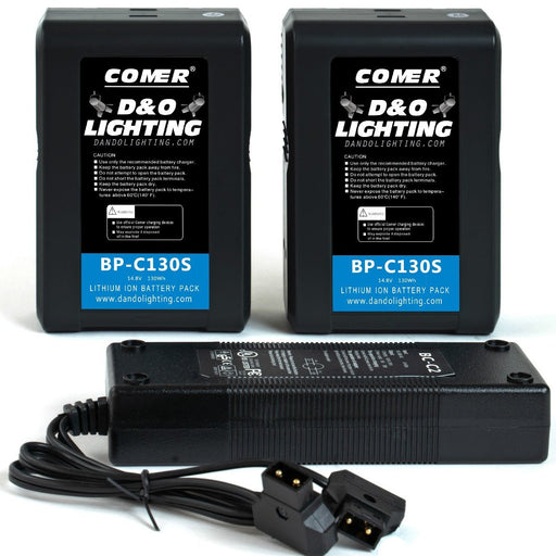 Two 130Wh V-Mount Batteries & D-Tap Charger Bundle