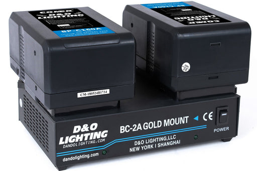 Two 160Wh Gold Mount Batteries with Dual Gold Mount Charger