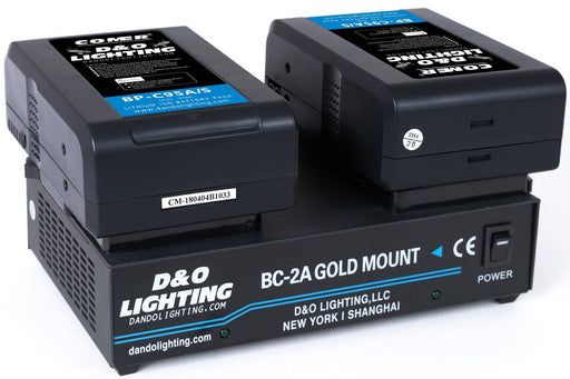 Two 95Wh Gold Mount Batteries with Dual Gold Mount Charger