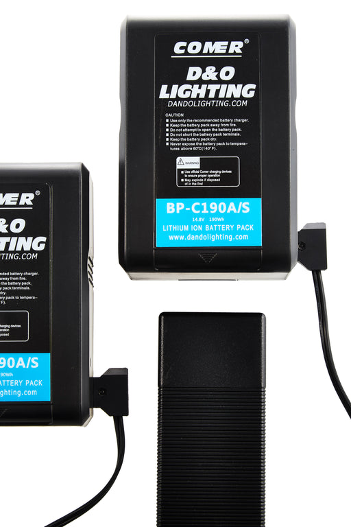 Two 190Wh V-Mount Batteries & D-Tap Charger Bundle