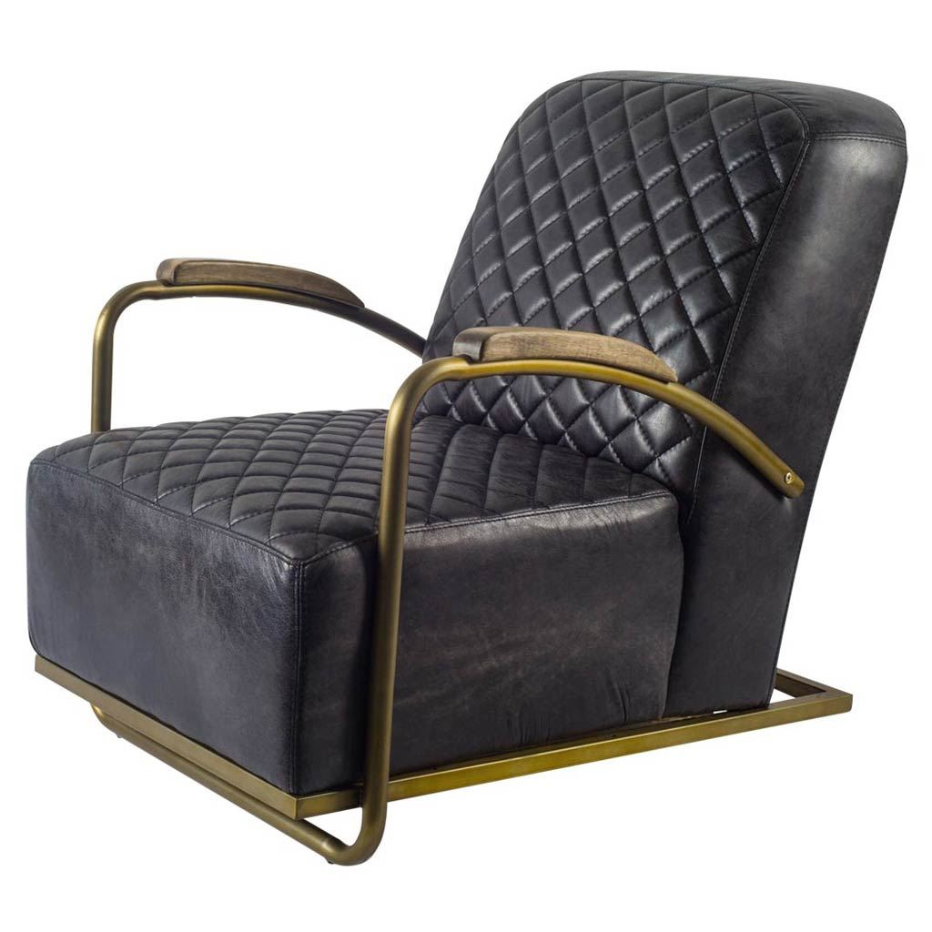 Chorae Black Diamond Stitched Arm Chair - Leather - Rustic Edge