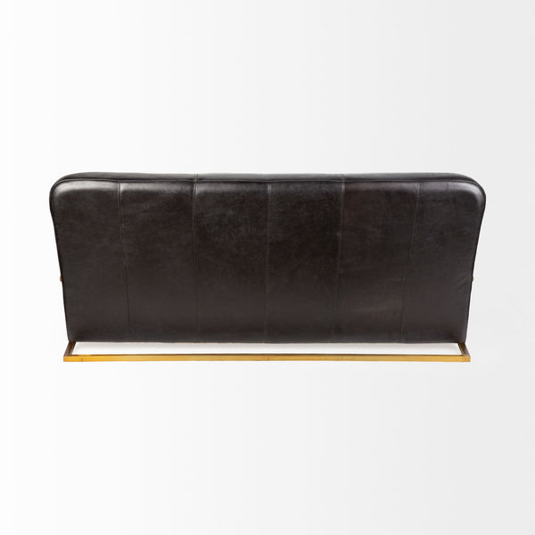 "Chorae Black Diamond Stitched Leather 73"" Sofa - Rustic Edge"