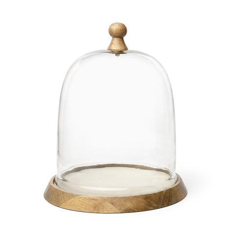 "Champagne Small 12"" Glass Cloche Wood Base"