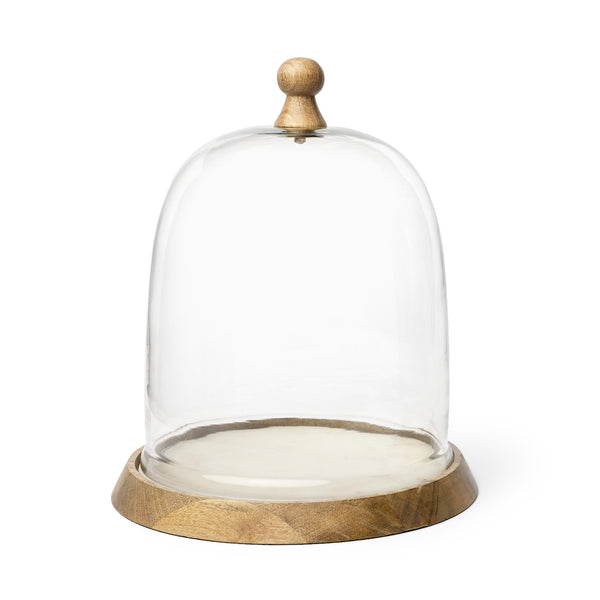 "Champagne Large 14"" Glass Cloche Wood Base"