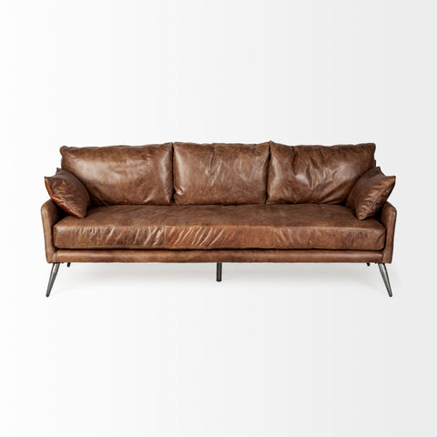 "Ranche 82"" Leather Sofa - Coffee Brown - Rustic Edge"