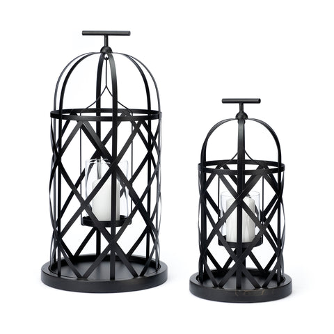 Lannie Cage Style Metal Lanterns Large & Small - Set of 2