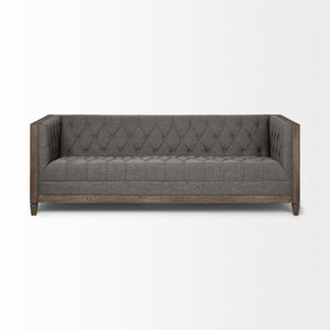 Kerrin Diamond Tufted Fabric Sofa - Grey - Rustic Edge