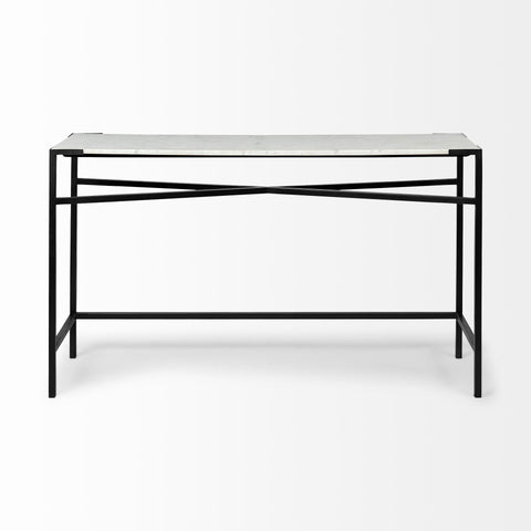 Casul White Marble Console Table - Rustic Edge