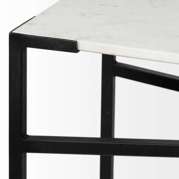 Casul White Marble Console Table - Black Metal Legs