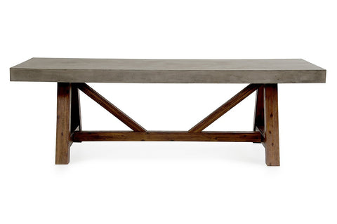"Kovek 95"" Concrete & Acacia Wood Dining Table - Rustic Edge"