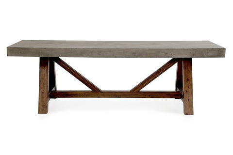 "Riverside 95"" Concrete Dining Table - Acacia Base - Rustic Edge"