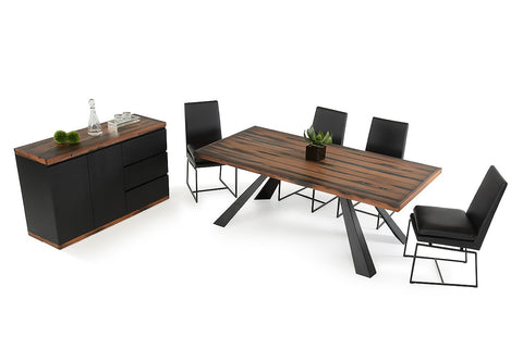 Modrest Norse Modern Ship Wood  Dining Set with Buffet and Chairs