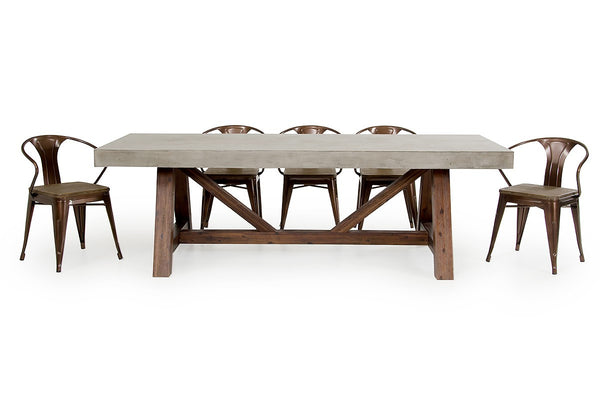 Modrest Revok Dining Set Modern Concrete & Acacia Table, Buffet, Chairs