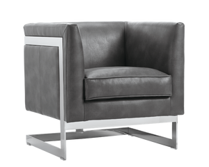 Houston Arm Chair - Grey Leather - Rustic Edge