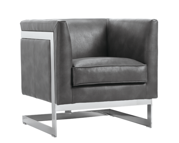 Aiken Arm Chair - Grey Leather - Rustic Edge