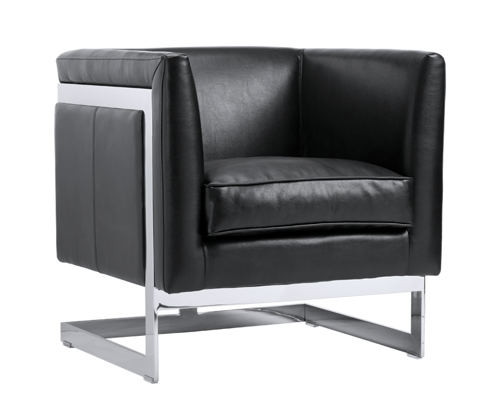 Houston Arm Chair - Black Leather - Rustic Edge