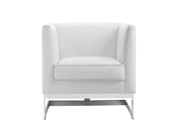 Houston Arm Chair -  White Leather - Rustic Edge