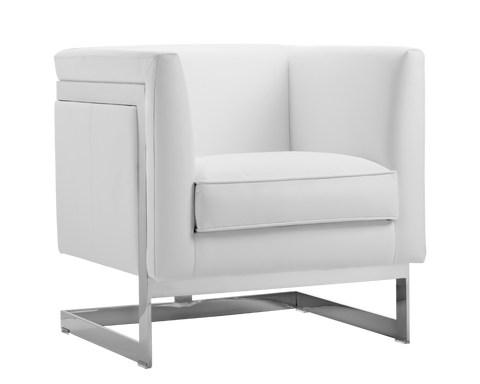 Aiken Arm Chair -  White Leather - Rustic Edge