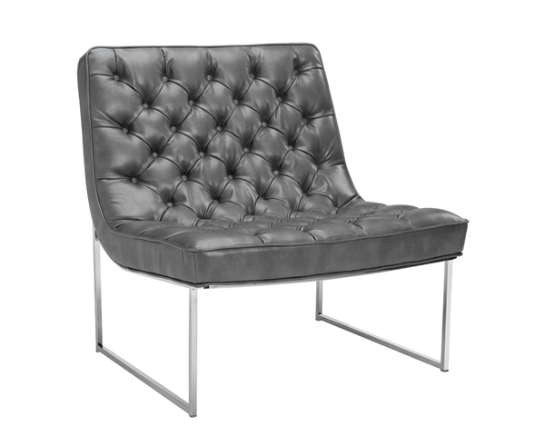 Barnard Accent Chair - Grey Leather - Rustic Edge