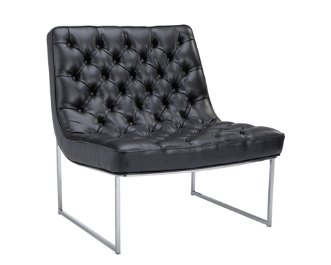 Barnard Accent Chair - Black Leather - Rustic Edge