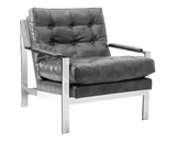Albinus Arm Chair -  Grey Leather - Rustic Edge