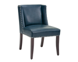 GIFFORD DINING CHAIR BLUE LEATHER SET OF 2
